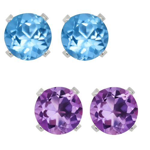 Sterling Silver 4mm Purple Amethyst and Blue Topaz Stud Earrings Set of 2 (Multi Gem Earring Sets compare prices)