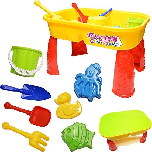 (チラカサンド) 室内 砂遊び サンドテーブル 9点セット 【蓋・スコップ・ミニバケツ・型3個 付き】 蓋をすればテーブルに 屋内 はもちろん アウトドア でも遊べる ふしぎな砂 不思議な砂 机 家 砂場 砂あそび (サンドテーブル)