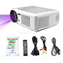 DBPOWER HD LED Home Theater Projector 1080P Video Projector Support Home Moive, Games, Meeting, Teaching (LED-66, White)