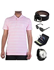 Garushi Pink T-Shirt With Watch Belt Sunglasses Cardholder - B00YMKRBF6