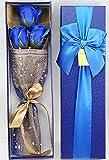 【kshop】 ソープフラワー 父の日 母の日 誕生日 等 お祝い 時の プレゼント に最適 薔薇の花束 【 青 3本 】