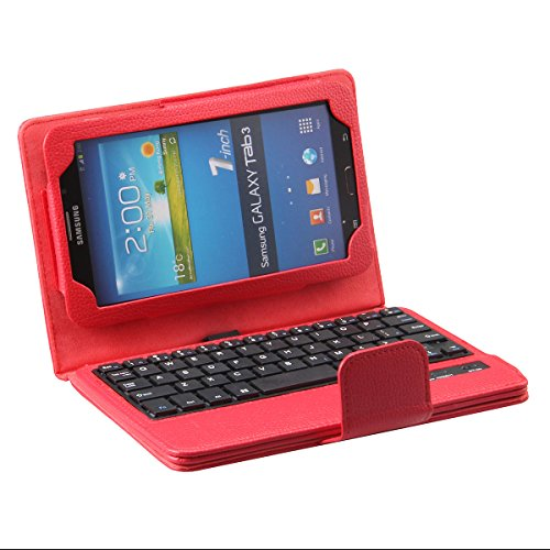 """Newstyle Wireless Removable Detachable Bluetooth Keyboard & Pu Leather Tablet Stand Case For Samsung Galaxy Tab 3 7.0 Inch 7"""" T210 T211 P3200 P3210 Tablet - Red Color"""