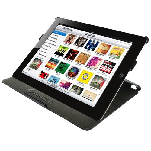 Amzer Leather Portfolio Case for Apple iPad 2 - Black (AMZ90814)