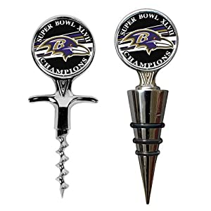 NFL Baltimore Ravens Super Bowl Champ Cork Screw and Money Clip Set, Small, Silver
