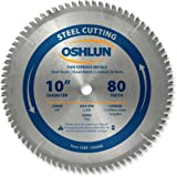 Oshlun SBF-100080 10-Inch 80 Tooth TCG Saw Blade with 5/8-Inch Arbor for Mild Steel and Ferrous Metals (Tamaño: 80 Tooth)