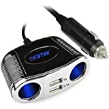 BESTEK® 4 Way Car Charger Cigarette Lighter Socket Splitter 12V/24V DC Adapter with Dual USB Charging Ports for iPhone6/6 Plus, 5S/5, iPad, Samsung and Other USB Powered Device(With Blue LED Backlight)