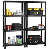 VonHaus Pack of Two 4 Tier Black Plastic Shelving Units: Free 2 Year Warranty - 132 x 61 x 30.5cm: Free Wall Braces