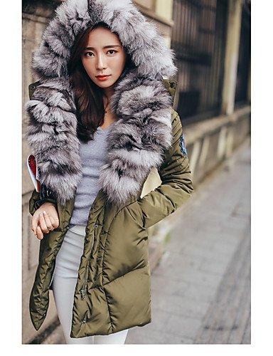 Da Wu Jia Ladies Cappotto donna lungo cappotto imbottito,semplice uscire Solid-Cotton polipropilene manicotto lungo Hooded blu / bianco / nero / verde , s
