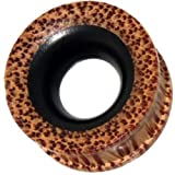 Chic-Net tribal wood tunnel black brown wood plug tunnel carved iron wood coconut wood's natural grain 10 mm
