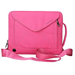 Padwa Lifestyle Shockproof Soft Sleeve Pouch Carrying Envelope Bag Case with Handle Shoulder Strap Zipper for iPad Air2/ iPad Air/ iPad 4/ iPad 3/ iPad 2/ iPad Samsung 10.1 Inch Tablet PC (Rosy)