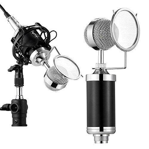 Tonor 高音質 プロ コンデンサーマイク スタジオレコーディング 3.5ミニプラグ 録音 宅録 実況 放送 ブラック TN480BL
