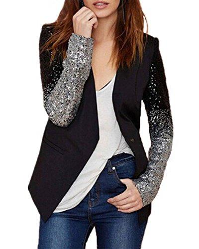 ZANZEA Donna Paillettes Cardigan Giacche da abito e blazer Suit Coat Jacket Top Outwear Nero IT 46/US 14