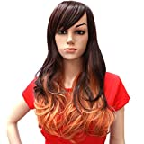 Hsg Cosplay Lady Brown Orange Gradient Wavy Wigs Oblique Bang Long Curly Wigs Tf2061