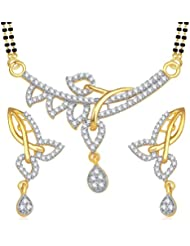Amaal Mangalsutra Pendant Set With Earrings For Women Girls Jewellery Set Gold Plated In Cz American Diamond MSPT0151