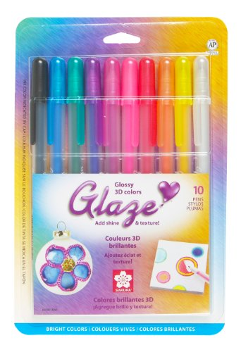 Sakura 10-Piece Glaze Assorted Color 3-Dimensional Glossy Ink Pen Set, Bright