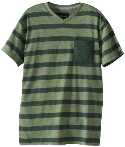 Calvin Klein Big Boys' Striped Slub Fashion Tee, Green Heather, Small