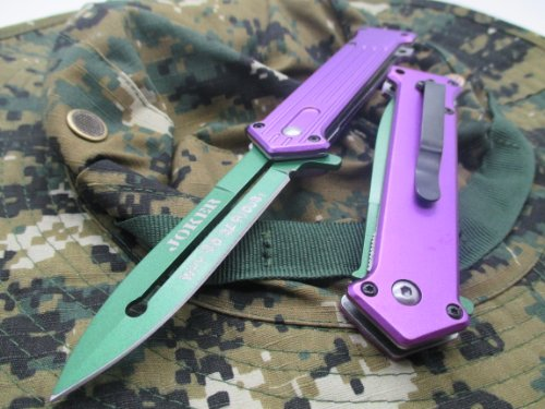 "Tac-Force Assisted Opening Linerlock ""Why So Serious"" Design A/O Speed Rescue Glass Breaker Knife - Purple"