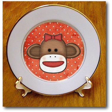 Cp_102831_1 Dooni Designs Monogram Initial Designs - Cute Sock Monkey Girl - Plates - 8 Inch Porcelain Plate