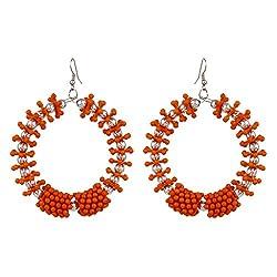 Designer Round Shape Orange Color Earrings By Lazreena