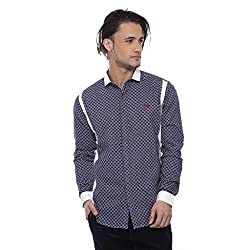 Apris Mens F/slv Cotton Shirt-BLUE (S-3227) (M)