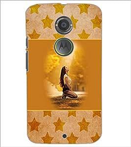 PrintDhaba Praying Girl D-3152 Back Case Cover for MOTOROLA MOTO X2 (Multi-Coloured)