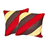 Agley Patch Quited Red Comb Cushion Cover 50x50 Cms (Set Of 2)