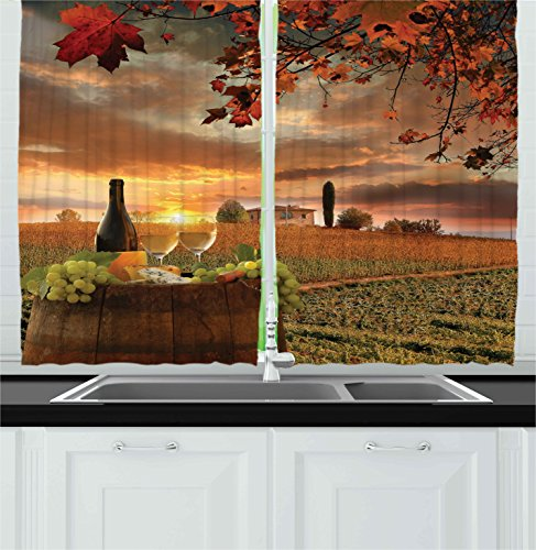 Ambesonne Winery Decor Collection, White Wine with Barrel on Vineyard at Sunset in Chianti Tuscany Italy Landscape Print, Window Treatments for Kitchen Curtains 2 Panels, 55 X 39 Inches, Orange Green (Wine Themed Curtains compare prices)