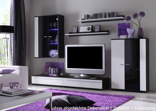 teppich modern wohnzimmer kurzflor wellen design weiß lila schwarz ... - Wohnzimmer Lila Weis