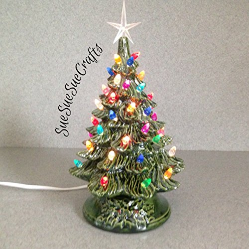 CHRISTMAS-DECORATION-Vintage-style-Ceramic-CHRISTMAS-TREE-11-inches-tall-a-holiday-lighted-decoration-Green-Glaze-with-Crystal-star