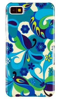 Aqua Flowers Pattern Hard Case for BlackBerry Z10 + DandyCase Keychain Screen Cleaner [Retail Packaging by DandyCase] by DandyCase