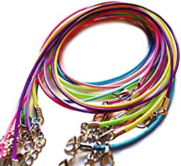Amy\'s Craft Box 100 Mixed Color Cotton Braided Wax Cord Necklaces With Lobster Clasps Extended Chain 19 Inches