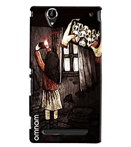 Omnam Girl Taking Selfie With Ghost Printed Designer Back Cover Case For Sony Xperia T2 Ultra