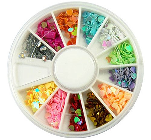 1 Set Cool Popular 3D Acrylic Nails Art Wheels Case Fashion Tools Kit Cellphone Color Style Heart Flake (Tie Dye Nails compare prices)
