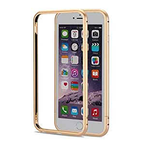 Ginmic TM 3D Curved Surface CNC Aviation Aluminum Alloy Metal Scratch-Resistant Built-in Sponge Drop Protection Bumper Frame Shell for Apple iPhone 6 4.7 inch with Standby Screw and Screwdriver Gold