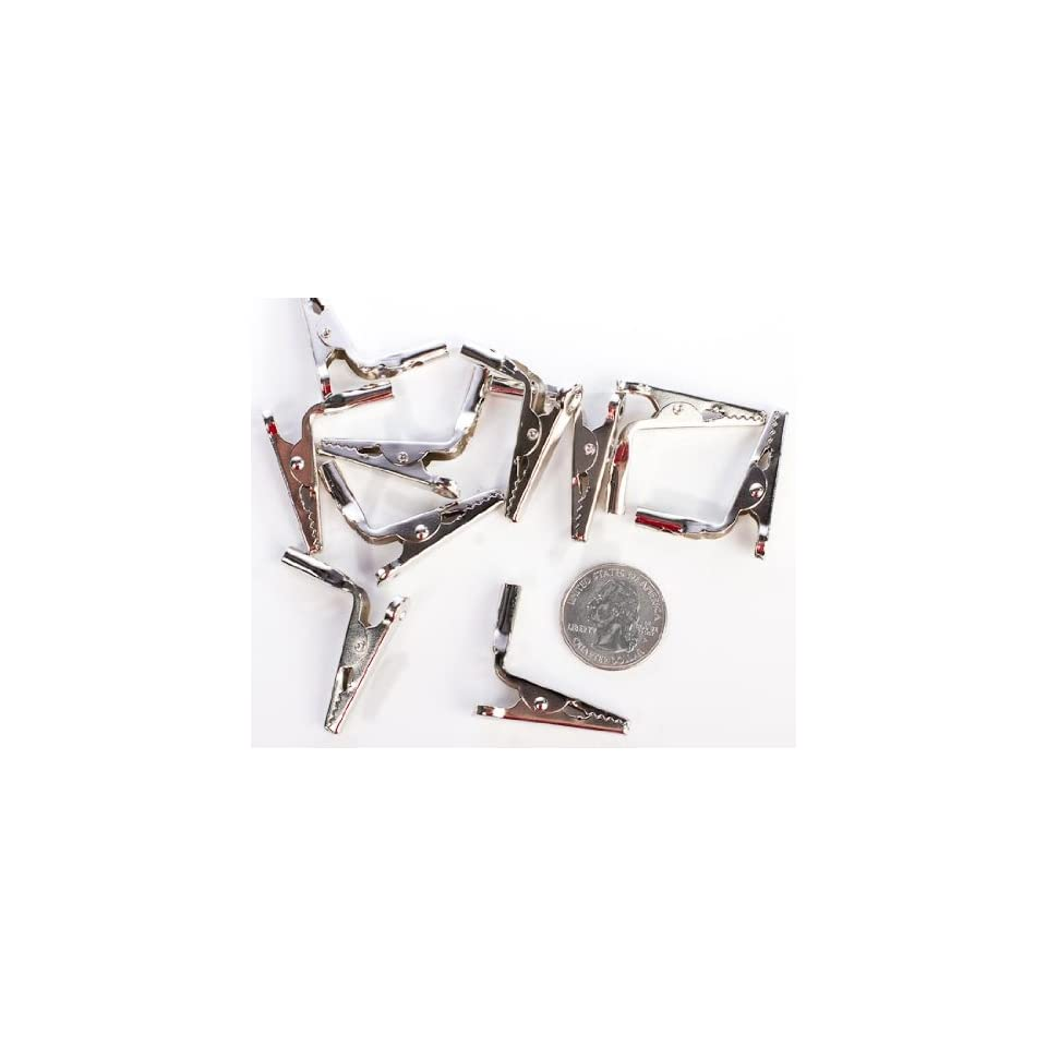 Silver Metal Bent Alligator Spring Clips   Total of 30 Clips (3 Packages of 10)