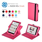 Exact(TM) 360 degree Rotary leather case for Nook HD+ 9 Tablet Hot Pink (Support Auto Sleep/Wake Function)