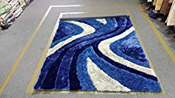Electro Blue Sepia 5\'x7\' Shaggy shag , Authentic Elegant Contemporary Design Shaggy Luxurious Area Rug Tufted, High Quality Livingroom Bedroom Fashion Deco\'r L-2