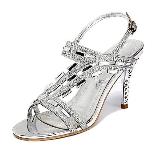 08. Allure.Love Women Sexty Summer Sandal Rhinestone Fish Mouth Thin Heel Shoes