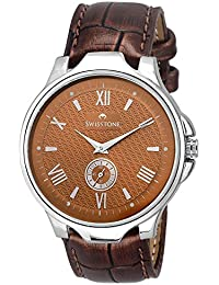 Swisstone GR022-BRWN Brown Dial Brown Leather Strap Analog Wrist Watch For Men/Boys