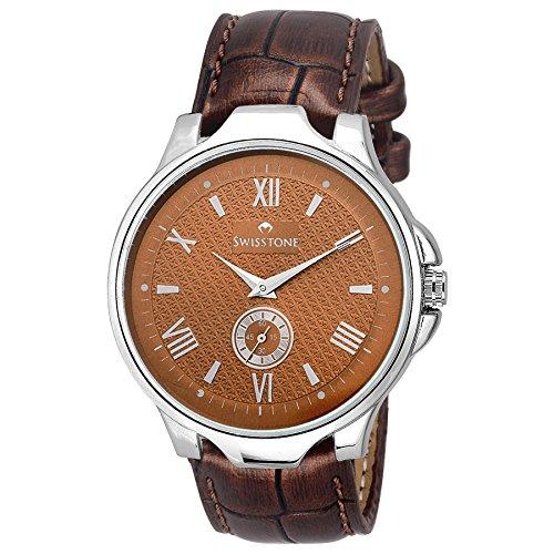 Swisstone GR022-BRWN Brown Dial Brown Leather Strap Analog Wrist Watch For Men/Boys