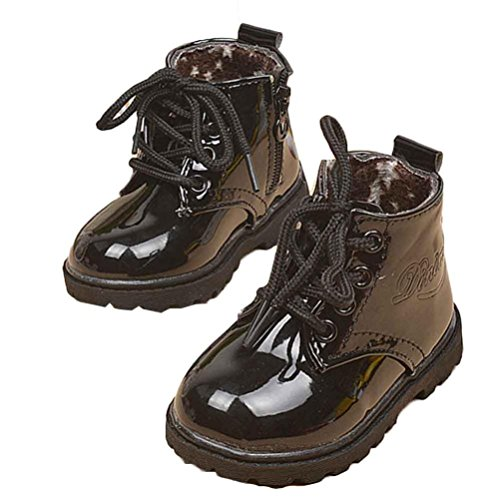 Tenworld Winter Baby Kids Boys Girls Shoes Lace-up Army Martin Boots (22, Black)