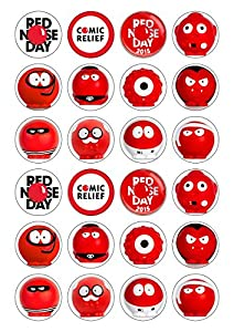 24 Precut Red Nose Day CHARACTER 40mm circle Edible Wafer ...