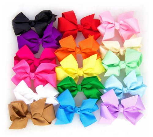 Ema Jane – Cute Set of 16 Assorted Boutique Quality 'Ema Jane' Grosgrain Baby Hair Bow Clips (Headbands Not Included) – Perfect for Girls, Youth, Toddlers, Newborns