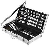 VonHaus 18-Piece Stainless Steel BBQ Accessories Tool Set - Includes Aluminum Storage Case for Barbecue Grill Utensils
