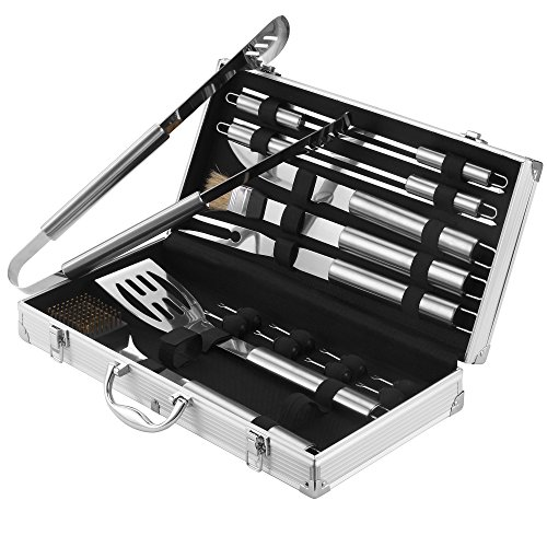 VonHaus 18-Piece Stainless Steel BBQ Accessories Tool Set - Includes Aluminum Storage Case for Barbecue Grill Utensils (Bbq Tools With Case compare prices)