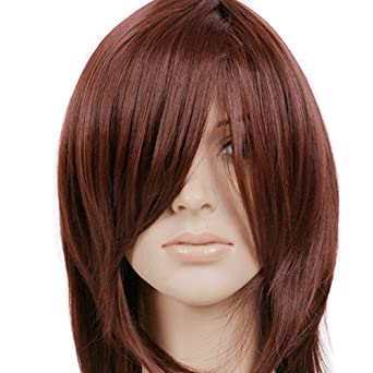 Red Brown Short Shoulder Length Anime Cosplay Wig Costume