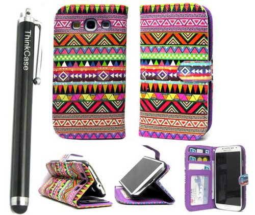 Thinkcase Samsung I9300 Galaxy S3 New Tribal Design Premium Pu Leather Wallet Case With Card Holder For Samsung I9300 Galaxy S3 Iii With 014# Thinkcase Stylus Pen