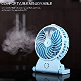 BASSTOP Portable Table Fan Mist Spray Cooling Desk Fan Air Handheld USB Mini Office Fan Quiet Personal Cooling Essential Oil Diffuser 2 Speeds