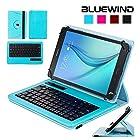 Blue Wind Universal 7-8 Inch 360 Degree Rotatable Tablet Portfolio Leather Case W/ Detachable Bluetooth Keyboard for Samsung Galaxy Note 8.0 / Tab 2 7.0 / Tab 3 7.0 / Tab 4 7.0 / Tab 3 Lite 7 / Tab 3 8.0 / Tab 4 8.0 / Tab Pro 8.4 / Tab S 8.4 / Tab A 8.0 / Acer A1-810 / W3-810 / iPad Mini / New iPad Mini Retina Display / Asus Memo Pad HD 7 / Dell Venue 8 Pro / Nexus 7 / Nexus 7 HD Support Android / IOS / Windows Systems - Blue