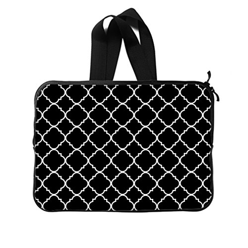 """Cool Quatrefoil Simple Black And White Classic Reticular New Laptop Sleeve 15""""(Twin Sides) front-961995"""